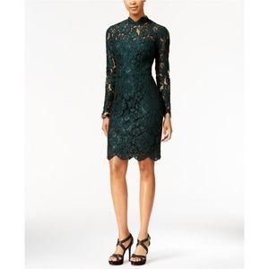 Betsey Johnson Green Lace Mock Neck Sheath Dress